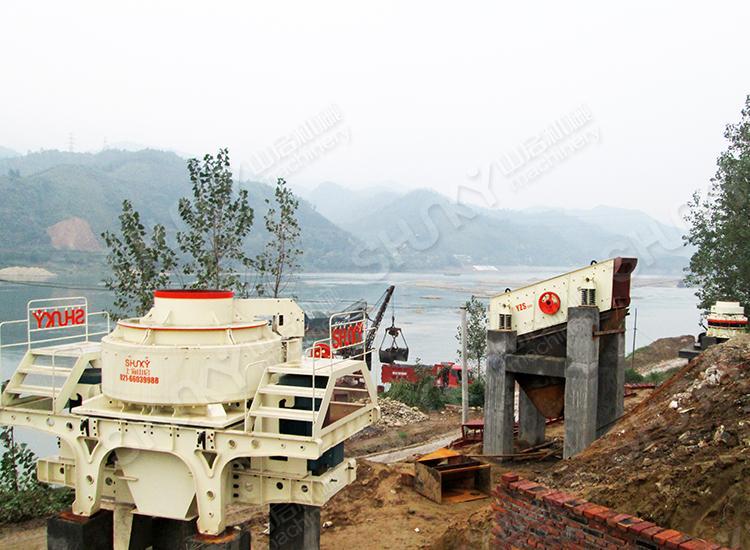 湖南时产140吨河卵石制砂生产线